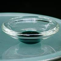 Handblown art glass centerpiece, 'A Drop of Emerald' - Handblown Murano Inspired Glass Centerpiece from Brazil