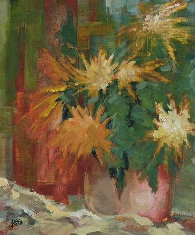 'Vase of Flowers' - Still Life Expressionist Painting
