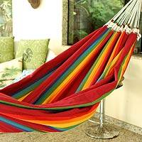 Cotton hammock, 'Iracema Rainbow' (double) - Handmade Striped Cotton Hammock (Double)