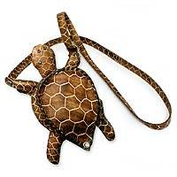 Leather shoulder bag, 'Amazon Turtle' - Hand Crafted Leather Shoulder Bag from Brazil