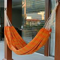 Cotton hammock, 'Ceara Sunshine' (single) - Handmade Brazilian Cotton Striped Fabric Hammock (Single)