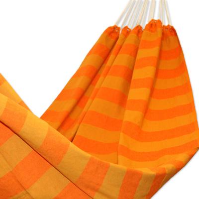 Cotton hammock, 'Ceara Sunshine' (single) - Handmade Brazilian Cotton Striped Fabric Hammock (Single)
