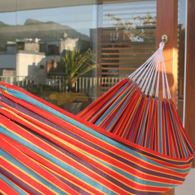 Cotton hammock, 'Carnival Rainbow' (single) - Cotton Striped Fabric Hammock (Single)