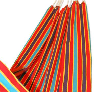 Cotton hammock, 'Carnival Rainbow' (single) - Cotton Striped Fabric Hammock (Single)