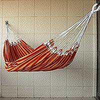 Cotton hammock, 'Amazon Sunrise' (single) - Handcrafted Sustainable Cotton Hammock from Brazil