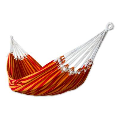 Cotton hammock, 'Amazon Sunrise' (single) - Handcrafted Cotton Striped Fabric Hammock (Single)