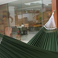 Cotton hammock, 'Ipanema Palm' (double) - Brazilian Solid Green Cotton Fabric Hammock (Double)