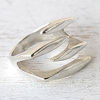 Sterling silver wrap ring, 'Equilibrium' - Women's Modern Sterling Silver Wrap Ring