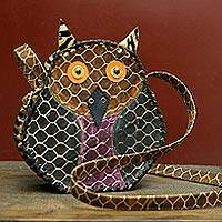 Leather backpack handbag, 'Wise Owl' - Leather backpack handbag