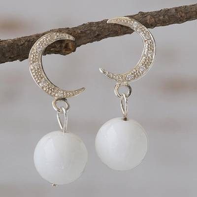 Dolomite dangle earrings, 'Moonstruck' - Dolomite dangle earrings