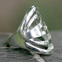 Sterling silver cocktail ring, 'Involvement' - Sterling Silver Band Ring