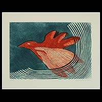 'Orange Bird' - Original Engraved Brazilian Art Print