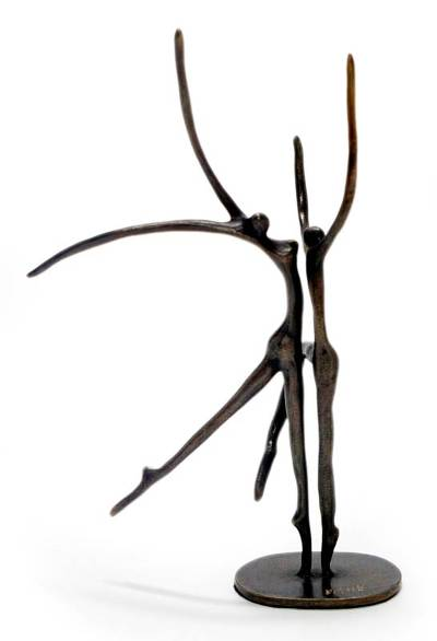 Bronze sculpture, 'Dance with Me' - Unique Brazilian Bronze Sculpture