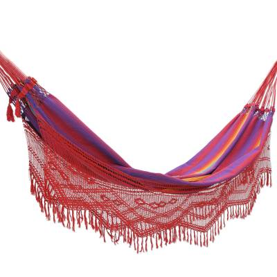 Cotton hammock, 'Forro Dance' (double) - Hand Made Cotton Fabric Hammock (Double)