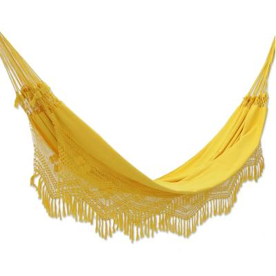 Cotton hammock, 'Amazon Sun' (double) - Artisan Crafted Cotton Solid Yellow Fabric Hammock (Double)