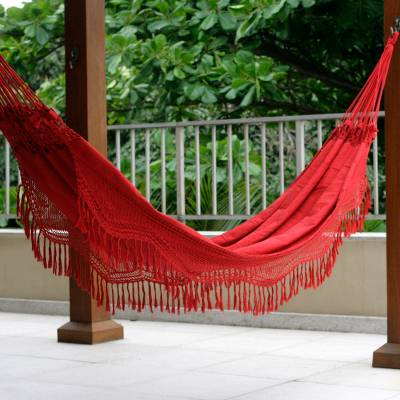 Cotton hammock, 'Red Rio Sensation' (double) - Brazilian Cotton Hammock (Double)