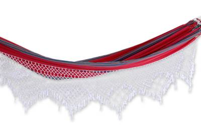 Cotton hammock, 'Scarlet Samba' (double) - Hand Crafted 100% Cotton Brazilian Striped Double Hammock wi