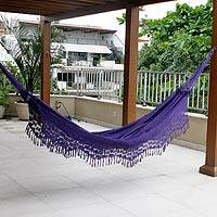 Cotton hammock, 'Maracuya' (double) - Handcrafted Fair Trade Hammock from Brazil