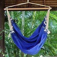 Cotton hammock swing, 'Copacabana' - Cotton Solid Blue Swing Hammock