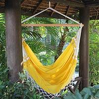 Cotton hammock swing, 'Salvador Sun' - Yellow Cotton Swing Hammock from Brazil