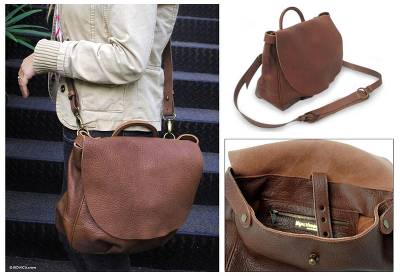 Leather messenger bag, 'Boho Chic' - Artisan Crafted Brown Leather Messenger Bag