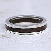 Men's silver and wood band ring, 'Integrity'