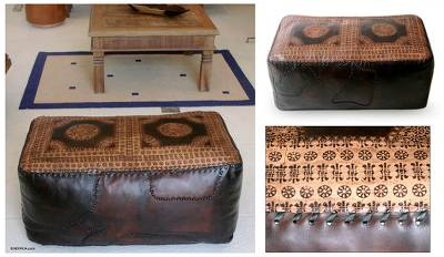 Leather ottoman cover, 'Dual Universe' (double) - Leather ottoman cover (Double)