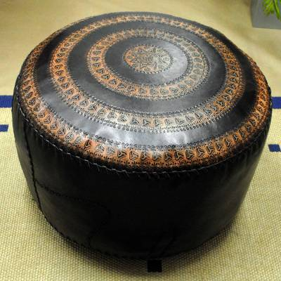 Leather ottoman cover, 'Manaus Star' - Handcrafted Leather Ottoman Cover