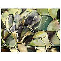 'Green Pots' (2011) - Still Life Abstract Painting