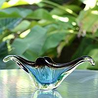 Handblown art glass centerpiece, 'Magnificent Blue' - Freeform Murano Inspired Glass Bowl