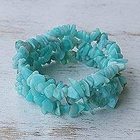 Amazonite beaded bracelets, 'Wonders' (set of 3) - Handcrafted Beaded Amazonite Bracelets (Set of 3)