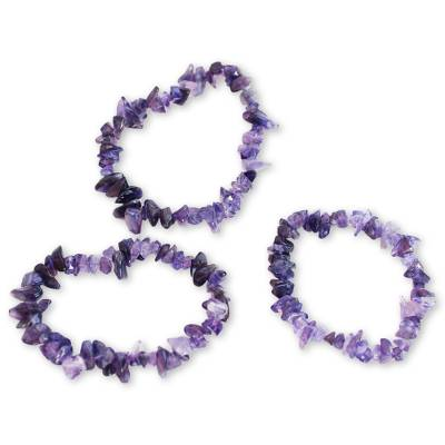 Handcrafted Beaded Amethyst Bracelets (Set of 3)