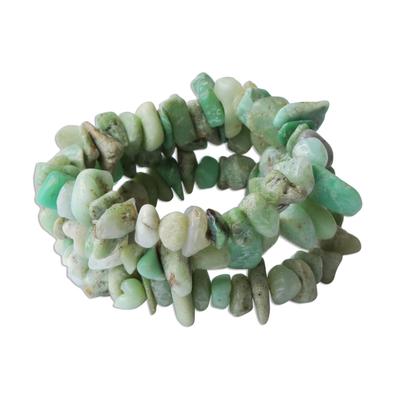 Chrysoprase Beaded Bracelets (Set of 3)