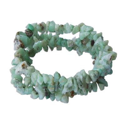 Unique Chrysoprase Beaded Bracelets (Set of 3)