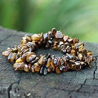 Tiger's eye beaded bracelets, 'Wonders' (set of 3) - Tiger's Eye Beaded Stretch Bracelets (Set of 3)