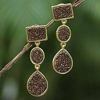 Brazilian drusy agate earrings, 'Golden Twilight' - Brazilian drusy agate earrings