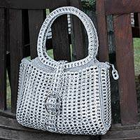 Soda pop-top handbag, 'Assertive' - Hand Made Recycled Aluminum Handbag