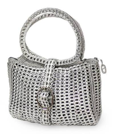 Novica Soda pop-top shoulder bag, Chain Mail Elegance