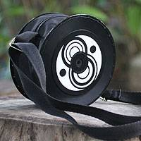 Recycled vinyl record handbag, 'Copacabana Groove' - Brazilian Recycled Vinyl Record Shoulder Bag