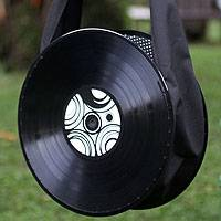 Recycled LP vinyl record handbag, 'Nostalgica' - Recycled Lp Vinyl Record Shoulder Bag