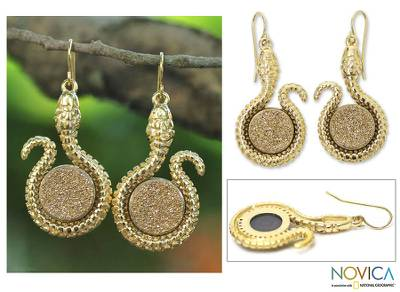 Brazilian drusy agate dangle earrings, 'Amazon Serpent' - Gold Plated Drusy Snake Earrings