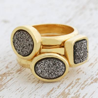 Brazilian drusy agate stacking rings, 'Samba Dazzle' (set of 3) - Gold Plated Drusy Agate Stacking Rings (Set of 3)
