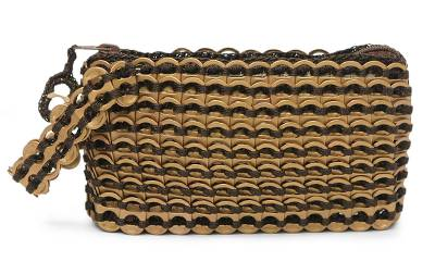 Soda pop-top wristlet bag, 'Bronze Hope and Change' - Hand Loomed Aluminum Wristlet from Brazil