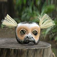 Leather mask, 'Rainforest Monkey' - Unique Leather Carnival Mask from Brazil