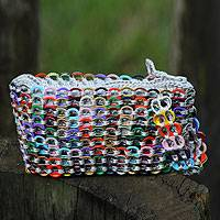 Soda pop-top wristlet bag, 'Bright Hope and Change' - Handcrafted Recycled Aluminum Wristlet Handbag