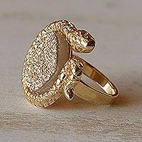 Brazilian drusy agate cocktail ring, 'Golden Amazon Serpent' - Fair Trade Gold Plated Drusy Cocktail Ring