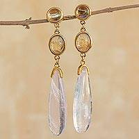 Gold plated rose quartz dangle earrings, 'Elegance' - Gold Plated Rose Quartz Dangle Earrings from Brazil