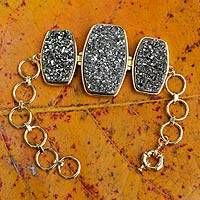 Brazilian drusy agate bracelet, 'Maringa Moonlight' - Fair Trade Druzy Agate and Gold Plated Bracelet