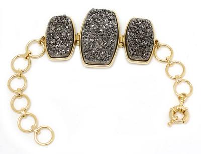 Brazilian drusy agate bracelet, 'Maringa Moonlight' - Unique Modern Gold Plated Link Drusy Bracelet