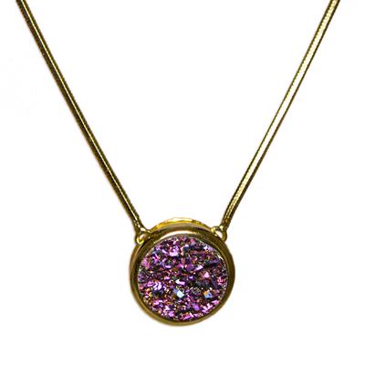 Brazilian drusy agate pendant necklace, 'Lilac Cosmos' - Brazilian drusy agate pendant necklace
